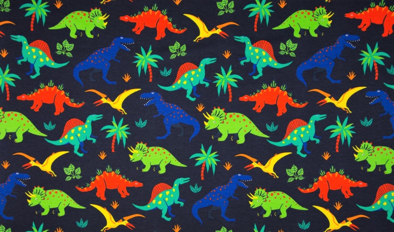Sommersweat dark navy mit bunten Dinosaurier