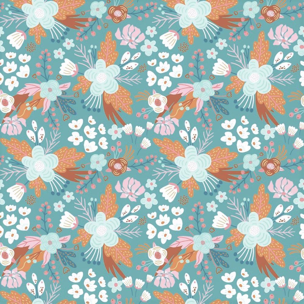 "Baumwolljersey Organic Cotton ""Flowers"" - dark dusty aqua"
