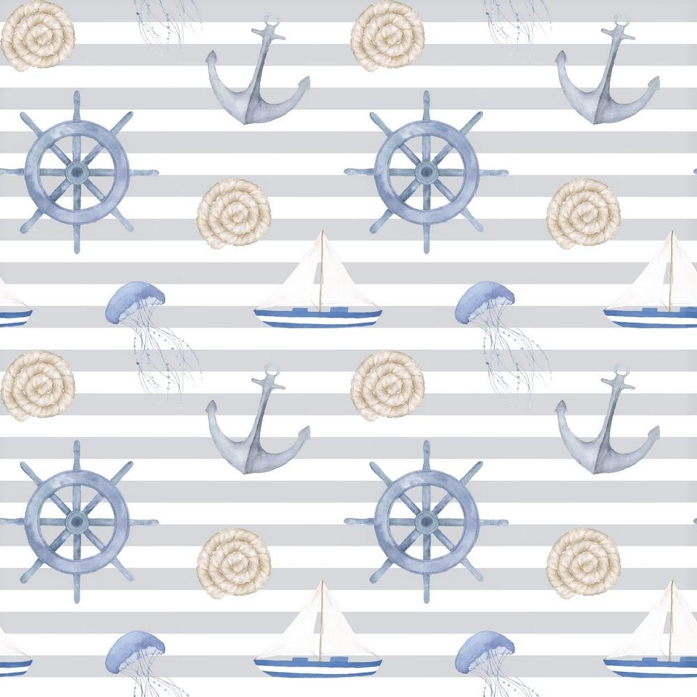 "Canvas Digital ""Sail Away"" - hellgrau/weiß gestreift"