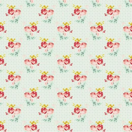 "Baumwollstoff ""Lovely Roses"" - mint"