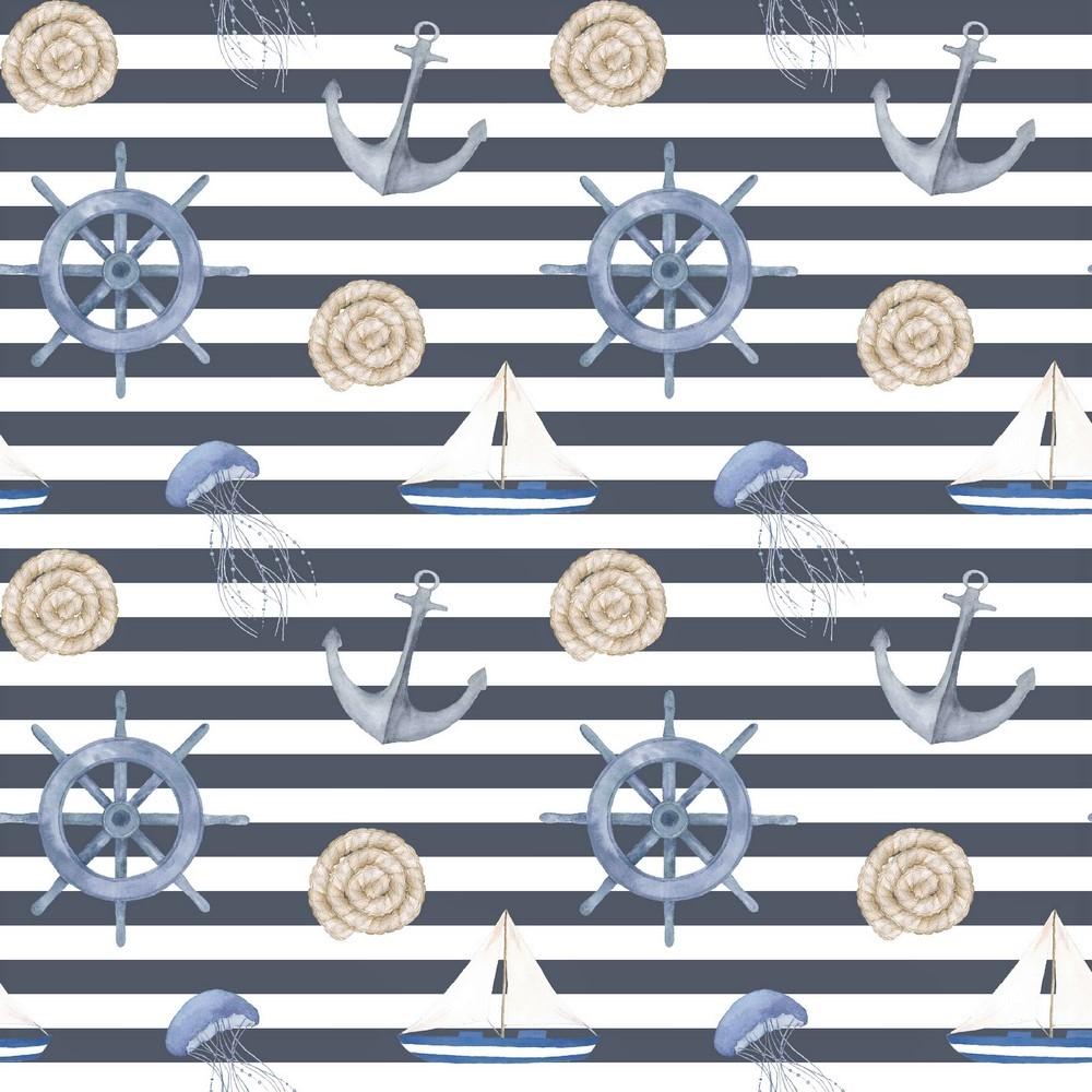 "Canvas Digital ""Sail Away"" - navy/weiß gestreift"