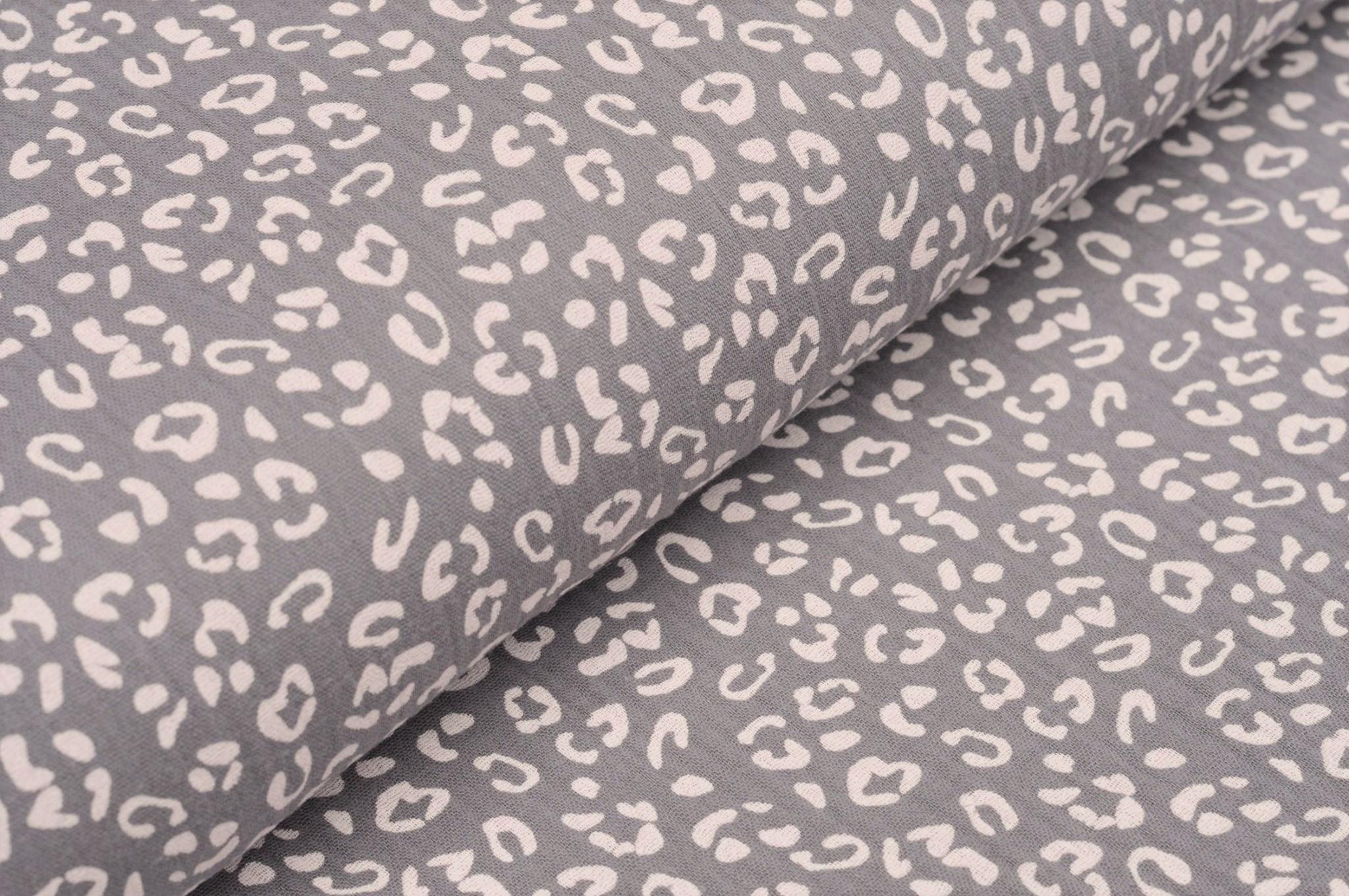 Baumwolle Musselin Double Gauze grau mit Animal Print