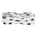 3m Baumwoll Schrägband weiß mit navy Sternen 20mm
