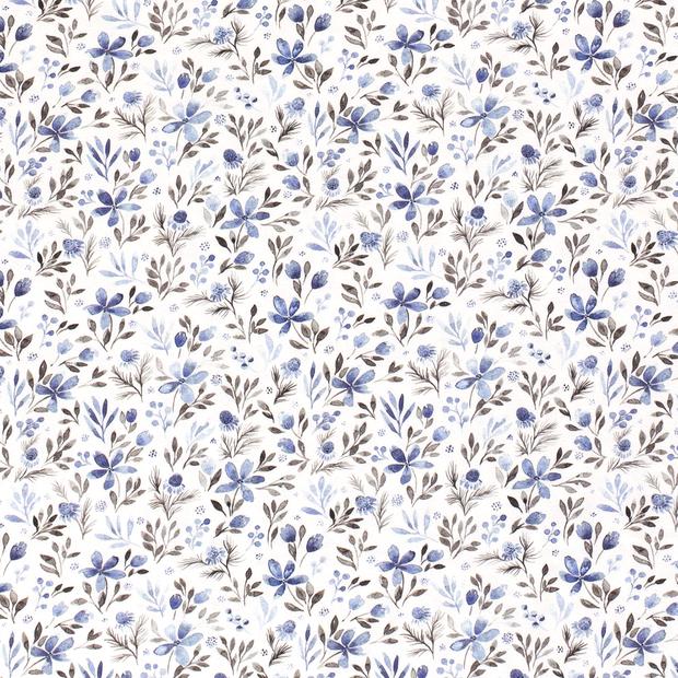 Digitaljersey offwhite mit blauen Blumen