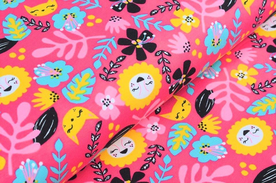 "Baumwolljersey ""Jungle Cat"" designed von Rebekah Ginda - pink"