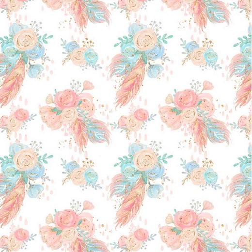"Digitaljersey Organic Cotton ""Flower Bouquet"" - weiß"