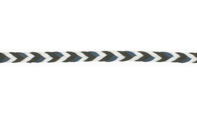Kordel geflochten Baumwolle 8mm flach schwarz, dunkelblau, weiß
