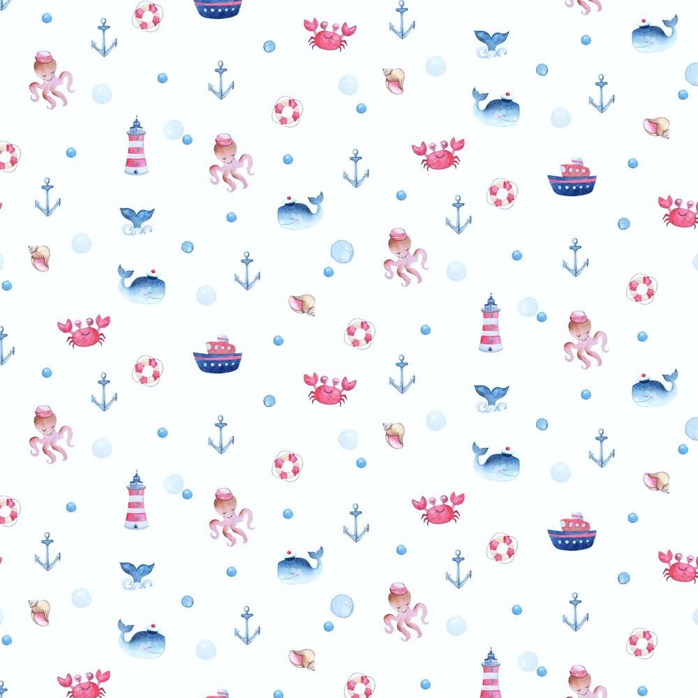 "Digitaljersey Organic Cotton ""Under The Sea"" - weiß"