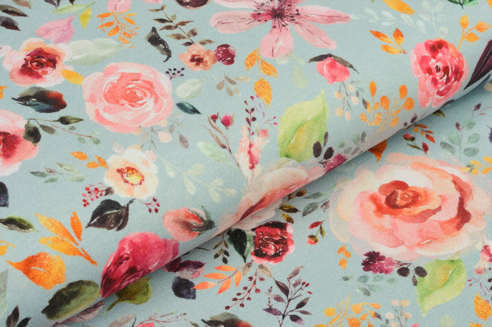 "Digitaljersey Organic Cotton ""Painted Flowers"" - hellblau"
