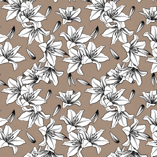 """Canvas """"Lily"""" mit Blumen - taupe"""