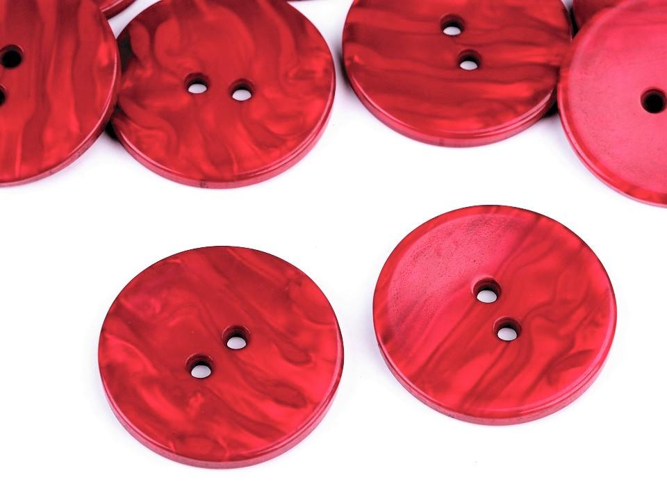 Kunststoff-Knopf Perlmutt Effekt rot 38,1 mm