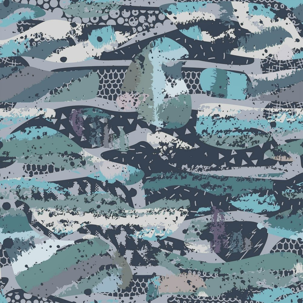 Sweat Organic Cotton Camouflage schwarz/blau - Digitaldruck