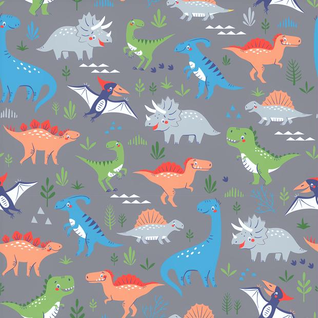Baumwolljersey grau mit verschiedenen bunten Dinosauriern