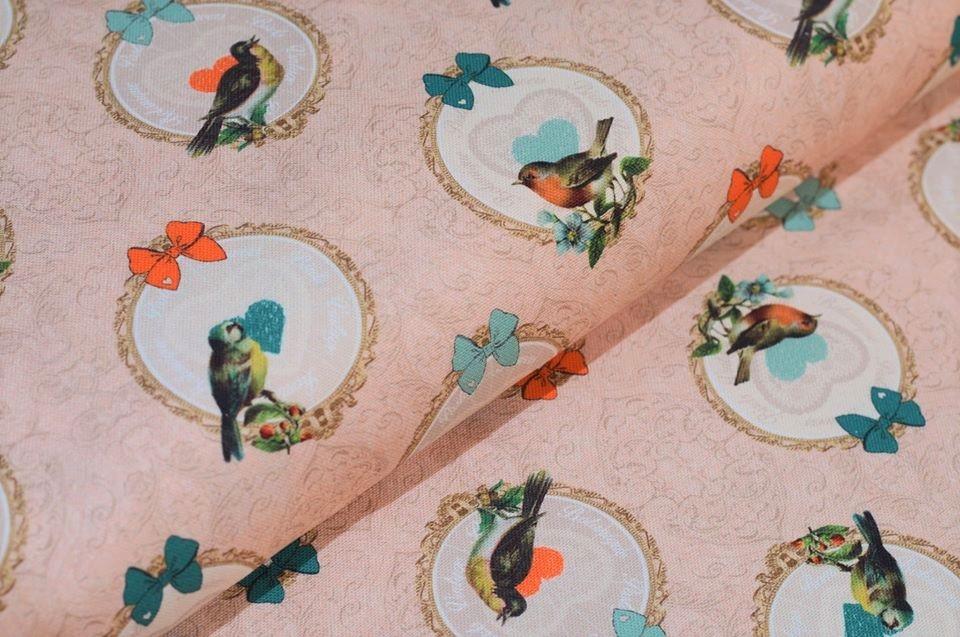 """Canvas rosa """"Vintage Birds"""""""