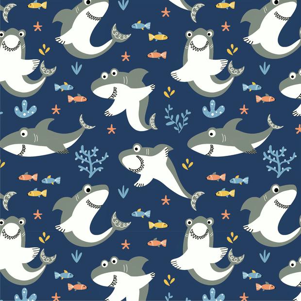Baumwolljersey navy mit lustigen Haien