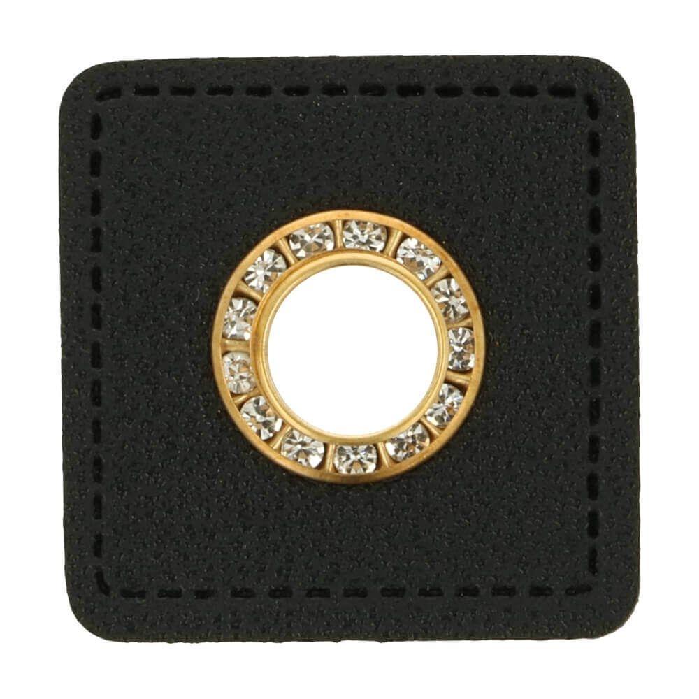 Ösen auf schwarzem Kunstleder mit Glitzersteinen gold 8mm