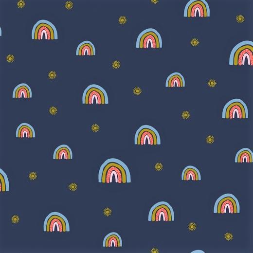 "Softsweat angeraut Organic Cotton ""Rainbows"" - navy"