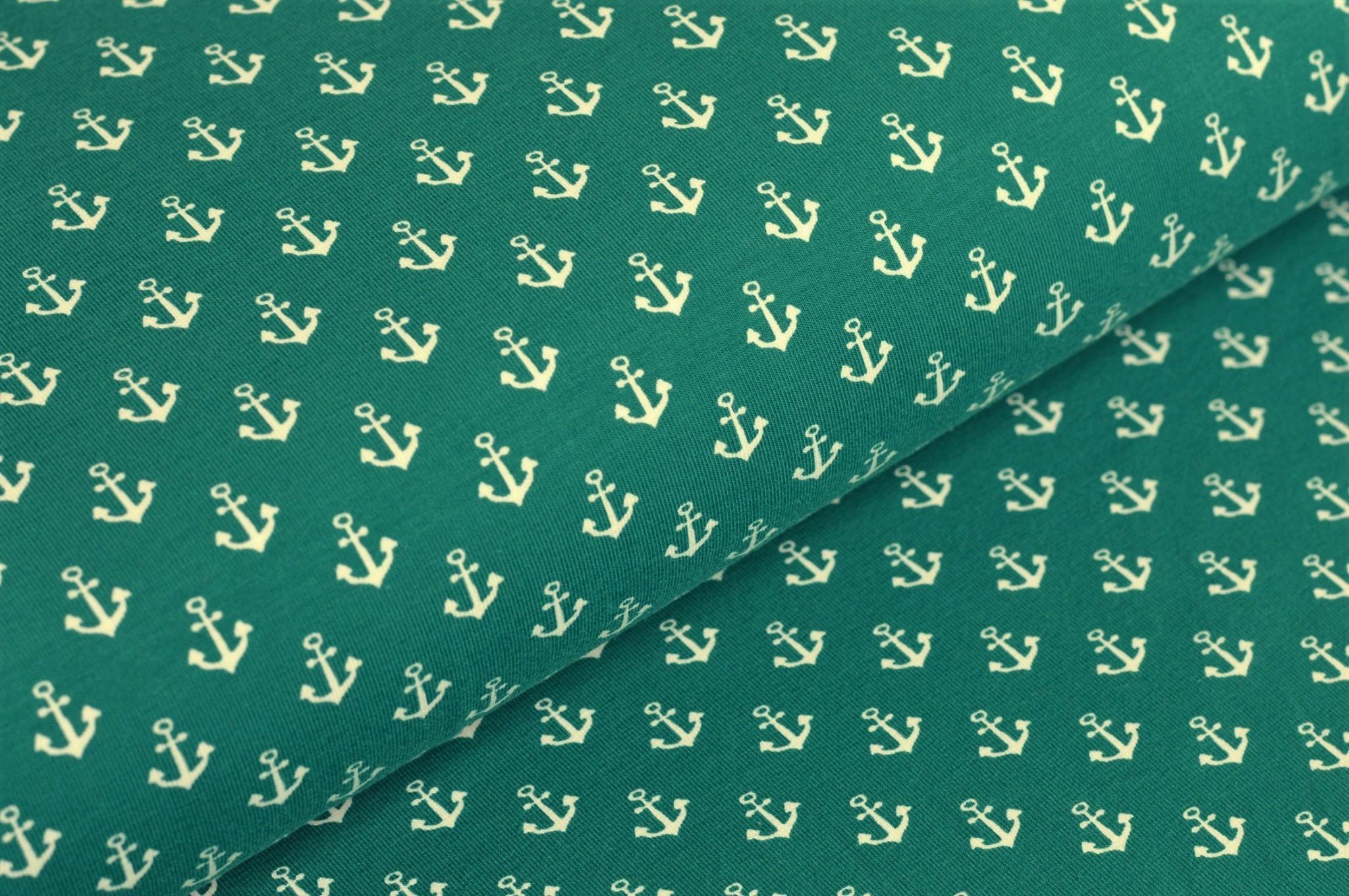 Baumwolljersey dunkelgrün mit weißen Anker