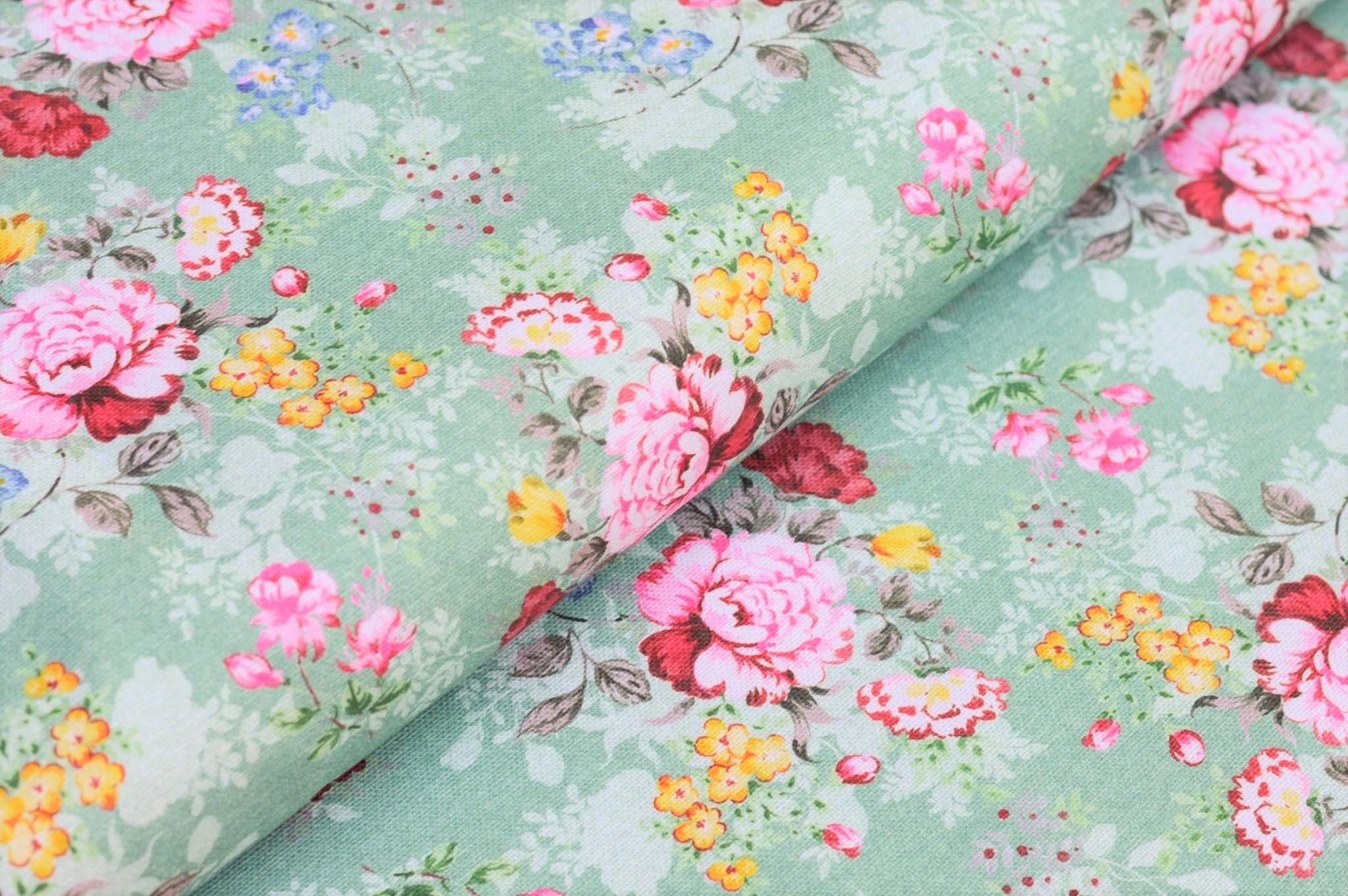"0,76m Reststück      Canvas dusty mint ""Flower Bouquet"""