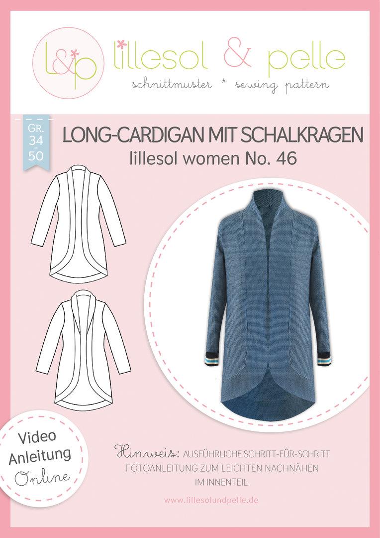 Papierschnittmuster Long-Cardigan mit Schalkragen lillesol women No.46 von Lillesol&Pelle