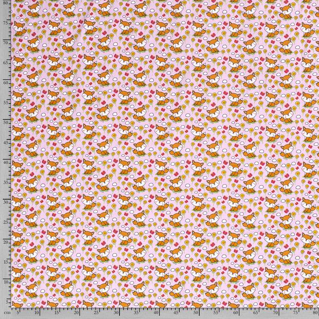 Baumwolljersey hellrosa mit Blumen und Füchsen