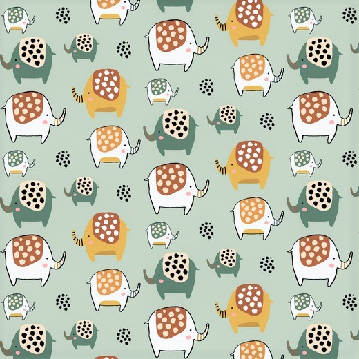 "Softsweat angeraut Organic Cotton ""Elephants"" - hellmint"