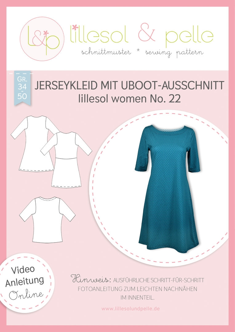 Papierschnittmuster Jerseykleid mit UBoot-Ausschnitt lillesol women No.22 von Lillesol&Pelle