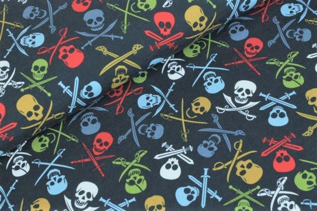 """Sommersweat angeraut """"Pirate Skulls"""" - navy"""