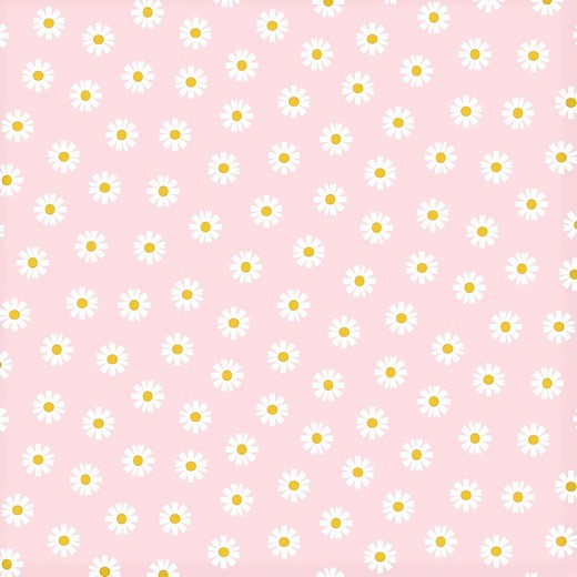 Baumwollstoff hellrosa mit Gänseblümchen