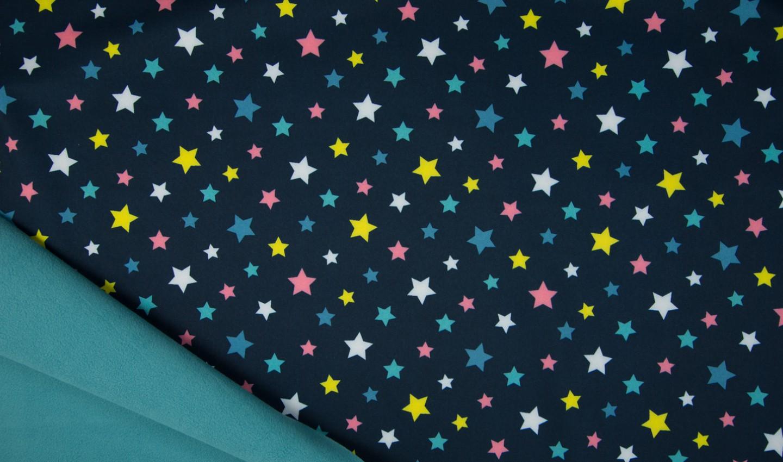 Softshell navy mit bunten Sternen
