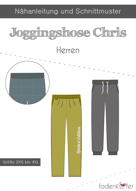 Papierschnittmuster Jogginghose Chris für Herren 2XS - 4XL von Fadenkäfer