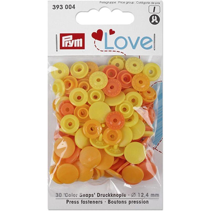 Prym Love Druckknopf Color Snaps 12,4mm orange/gelb/zitronengelb