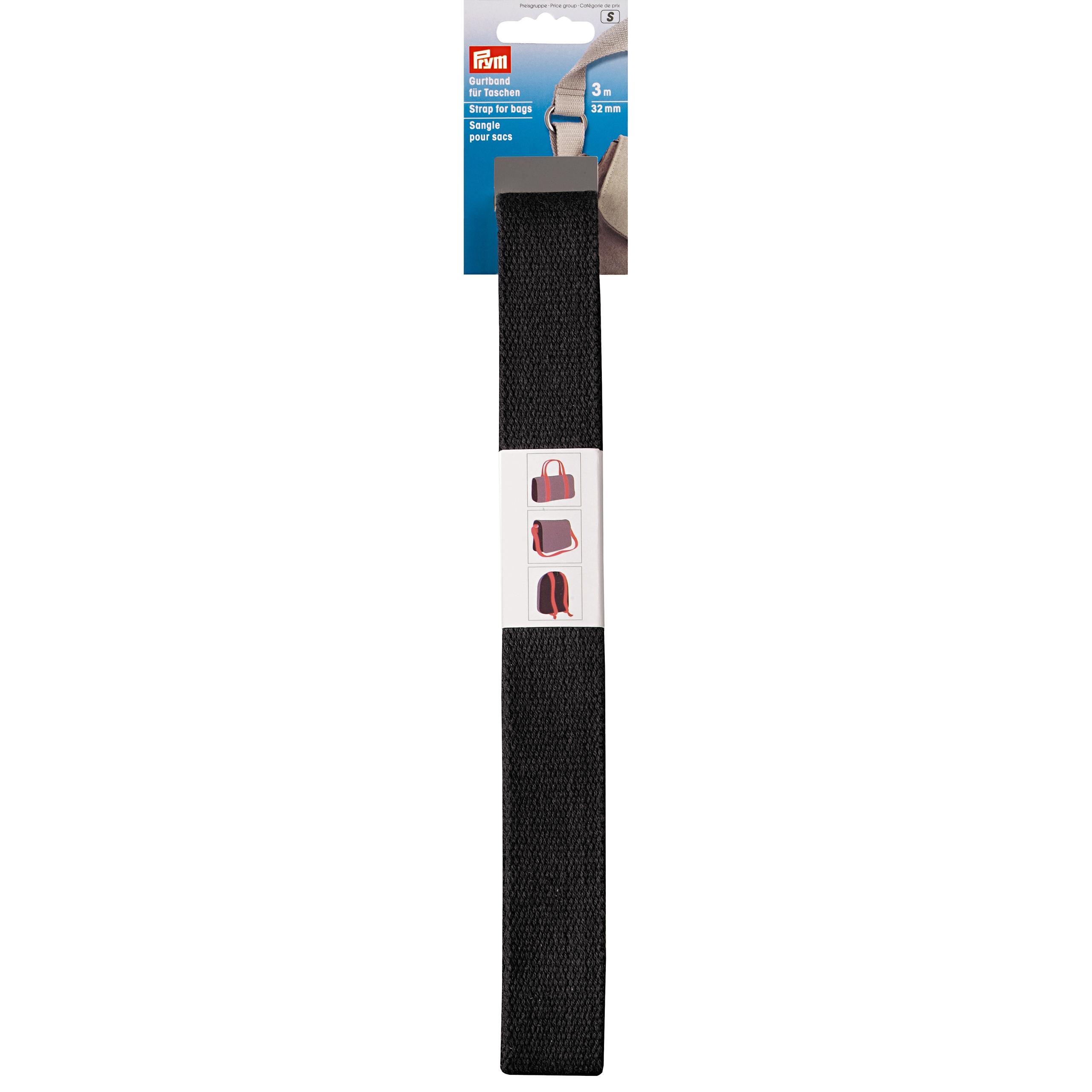 Prym Gurtband für Taschen 30mm schwarz - 3m abgepackt