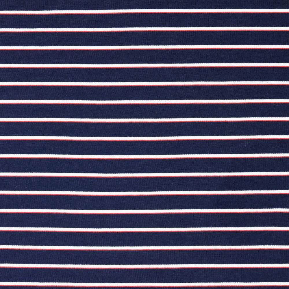 Sommersweat mit verschiedenen Streifen - navy/ecru/rot