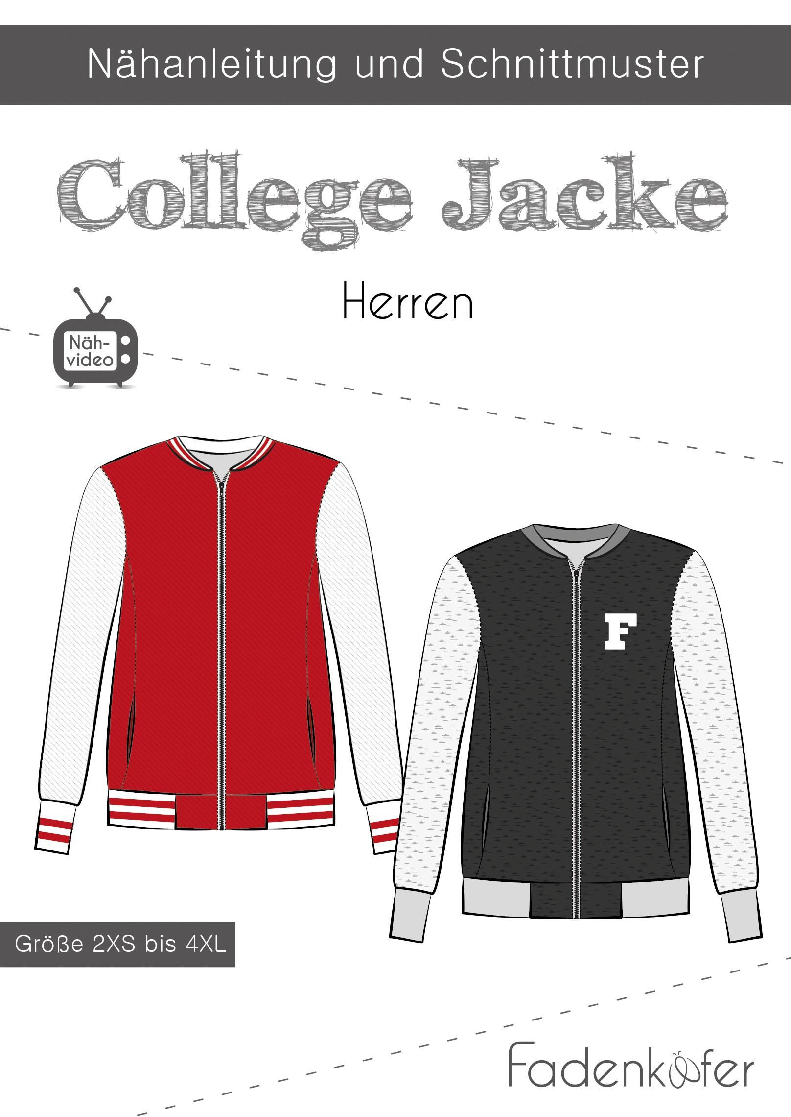 Papierschnittmuster College Jacke für Herren 2XS-4XL von Fadenkäfer