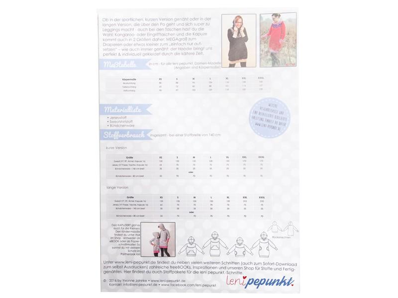 Papierschnittmuster Damen Hoodie KAPUZIERT 4US XS-XXXL von Leni Pepunkt