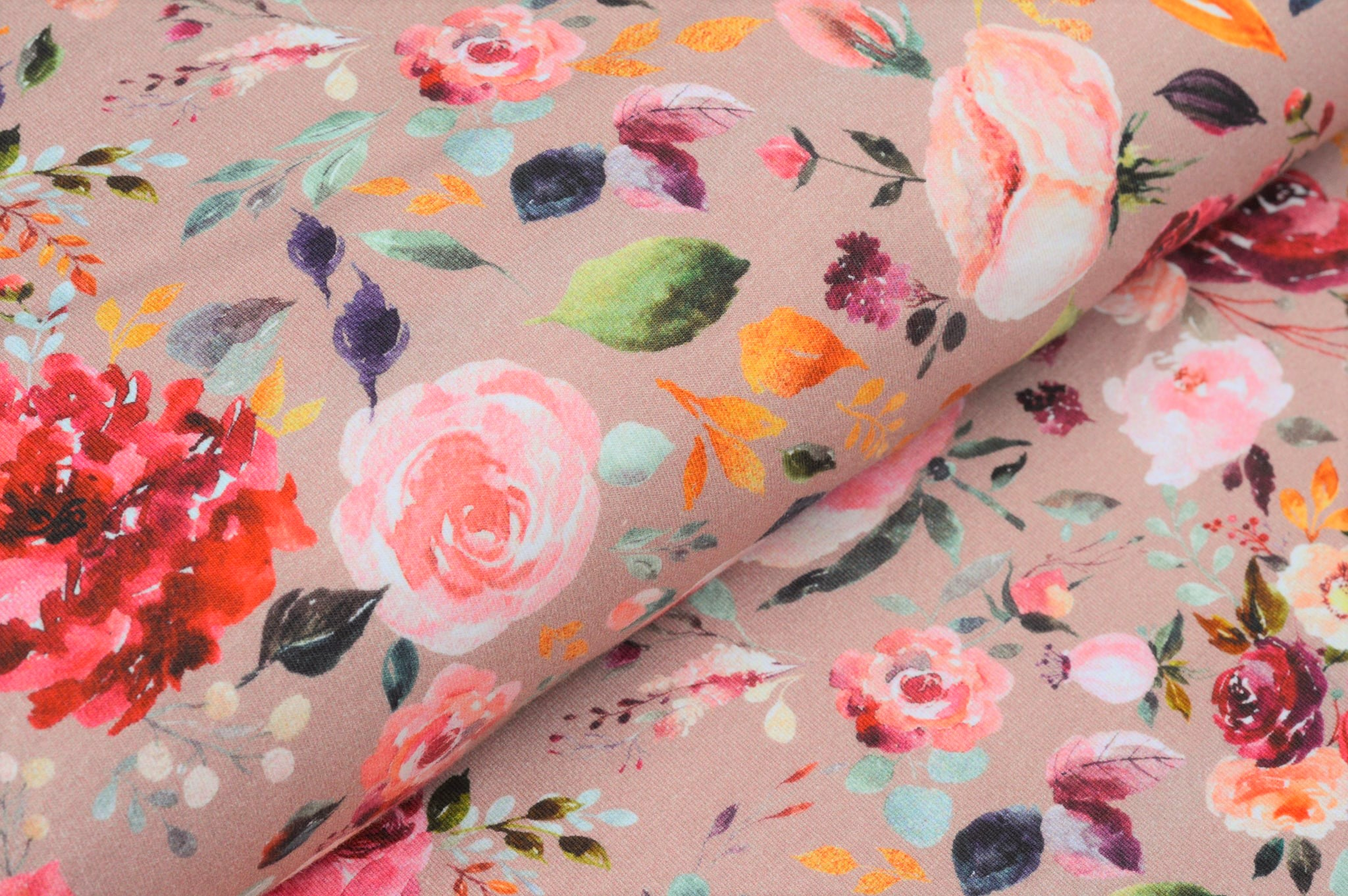 "Digitaljersey Organic Cotton ""Painted Flowers"" - old rose"