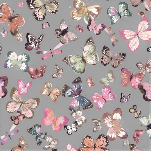 0,37m Reststück      Sommersweat Organic Cotton grau mit Schmetterlingen - Digitaldruck