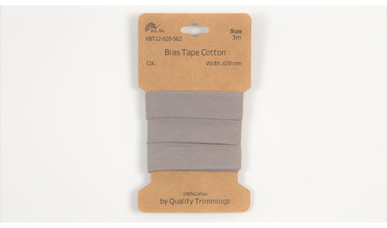 Karte 3m Baumwoll-Schrägband 20mm breit in grau (562)