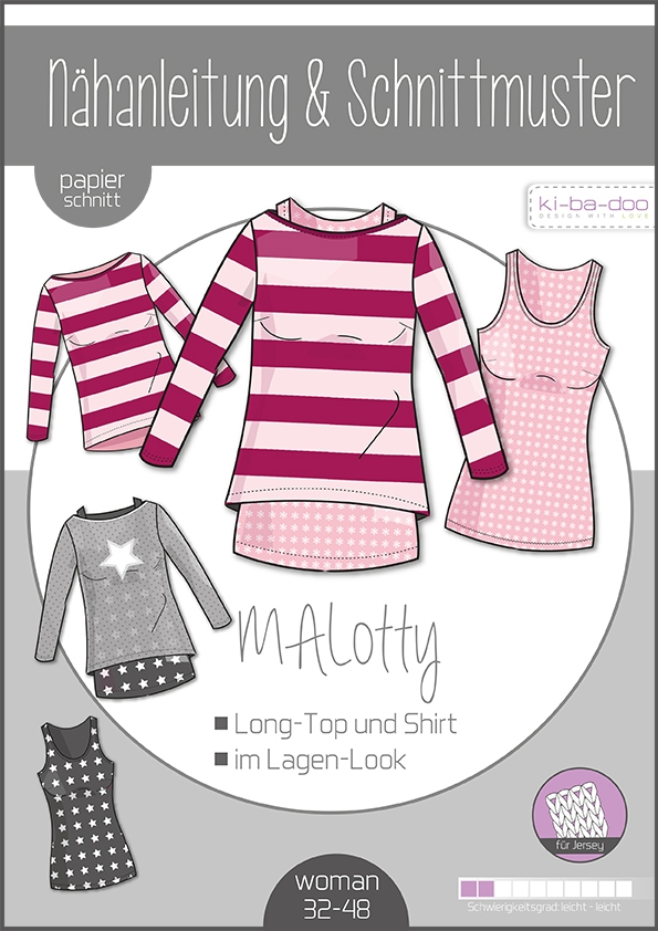 Papierschnittmuster Doppel-Shirt MAlotty Damen 32-48 von Ki-ba-doo