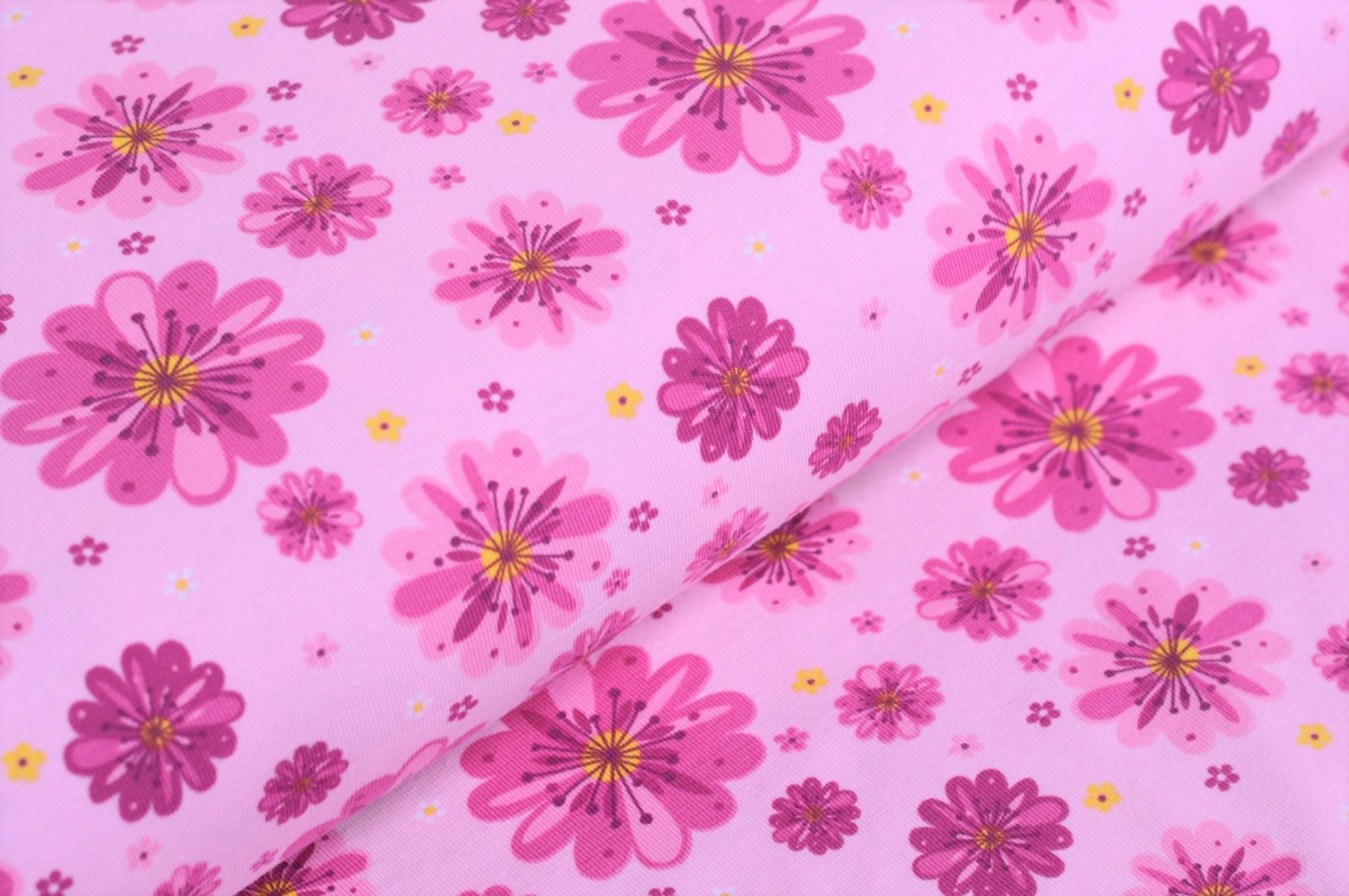 0,41m Reststück     Baumwolljersey hellrosa mit großen rosa/pinken Blumen