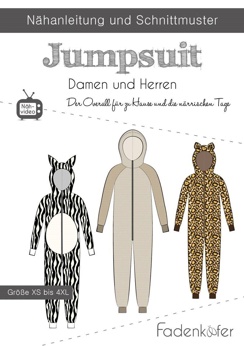Papierschnittmuster Jumpsuit für Damen und Herren XS-4XL