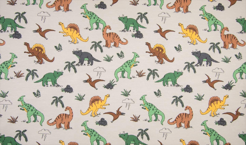Sommersweat mit verschiedenen Dinosauriern - beige