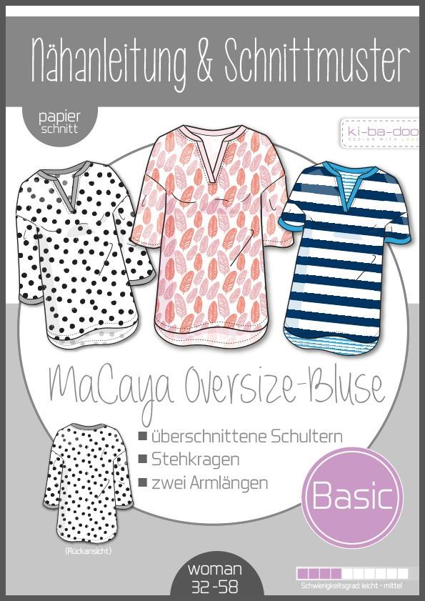 Papierschnittmuster Oversize Bluse MaCaya Damen 32-58 von Ki-ba-doo