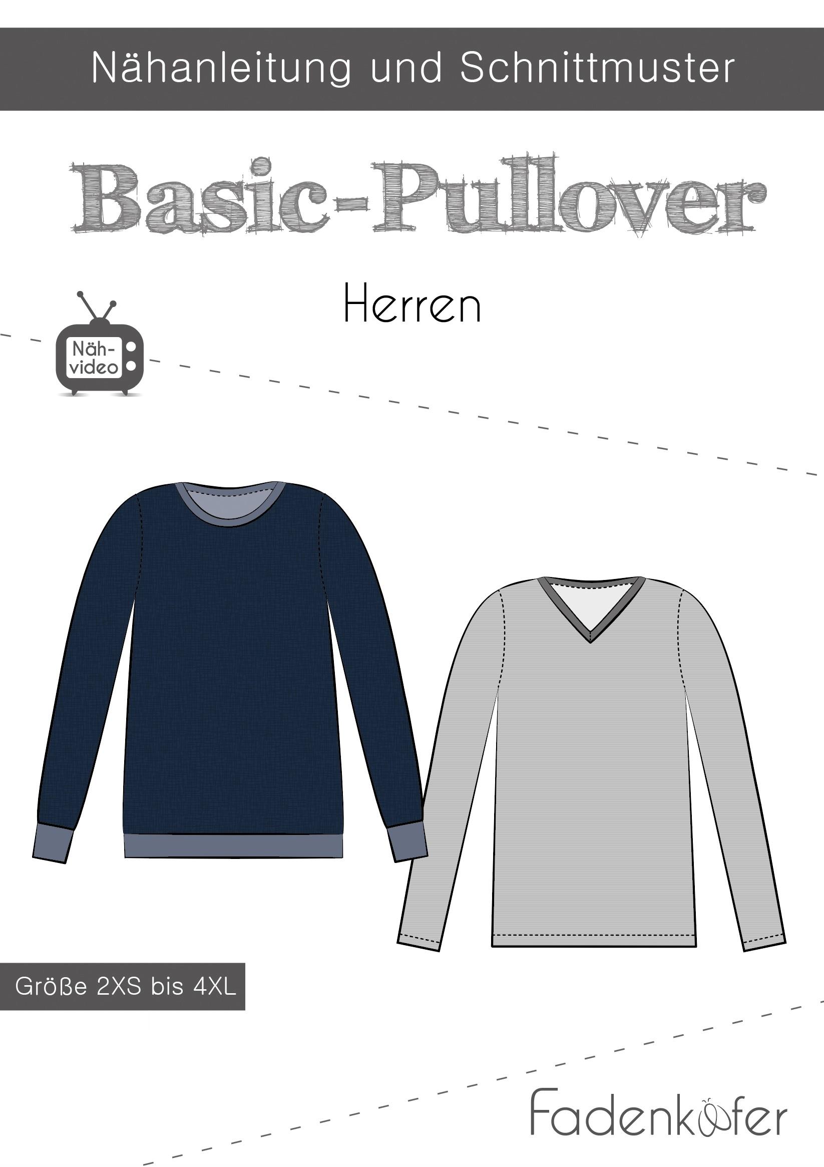 Papierschnittmuster Basic-Pullover für Herren 2XS-4XL von Fadenkäfer