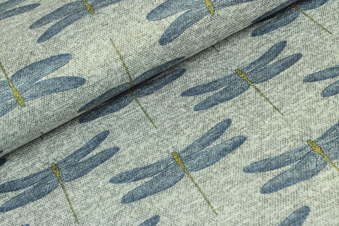 Jacquard grau meliert mit blauen Libellen