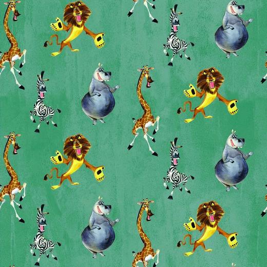 """Sommersweat """"Tiere von Madagaskar"""" - seagreen - DreamWorks Lizenzstoff"""