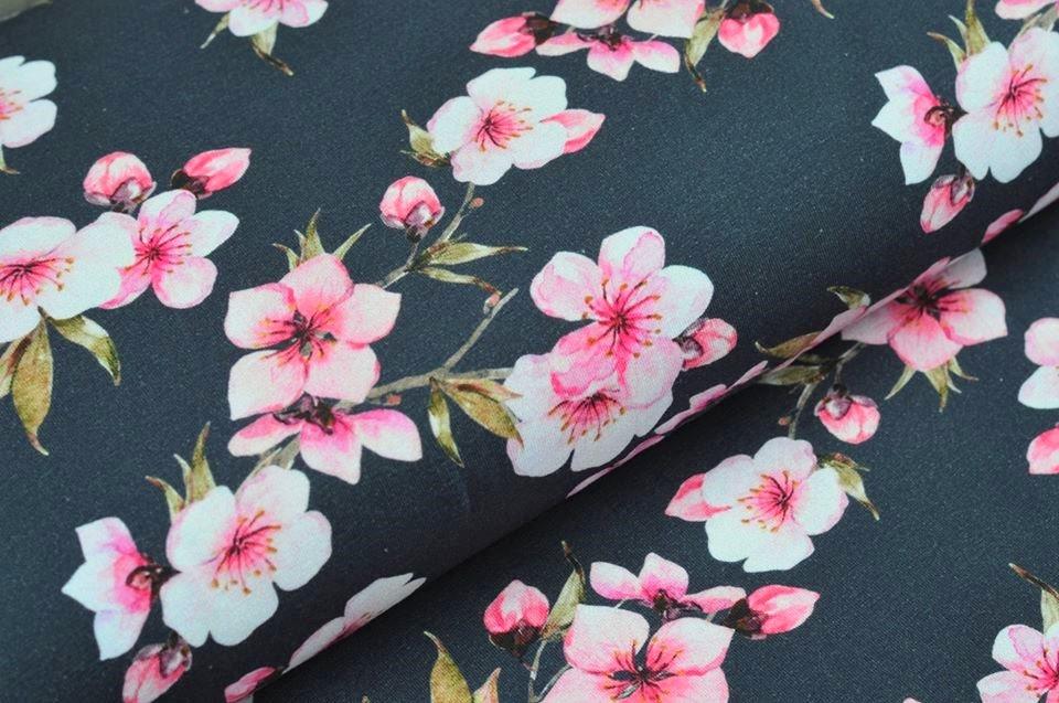 Baumwolljersey dunkelblau mit Kirschblüten