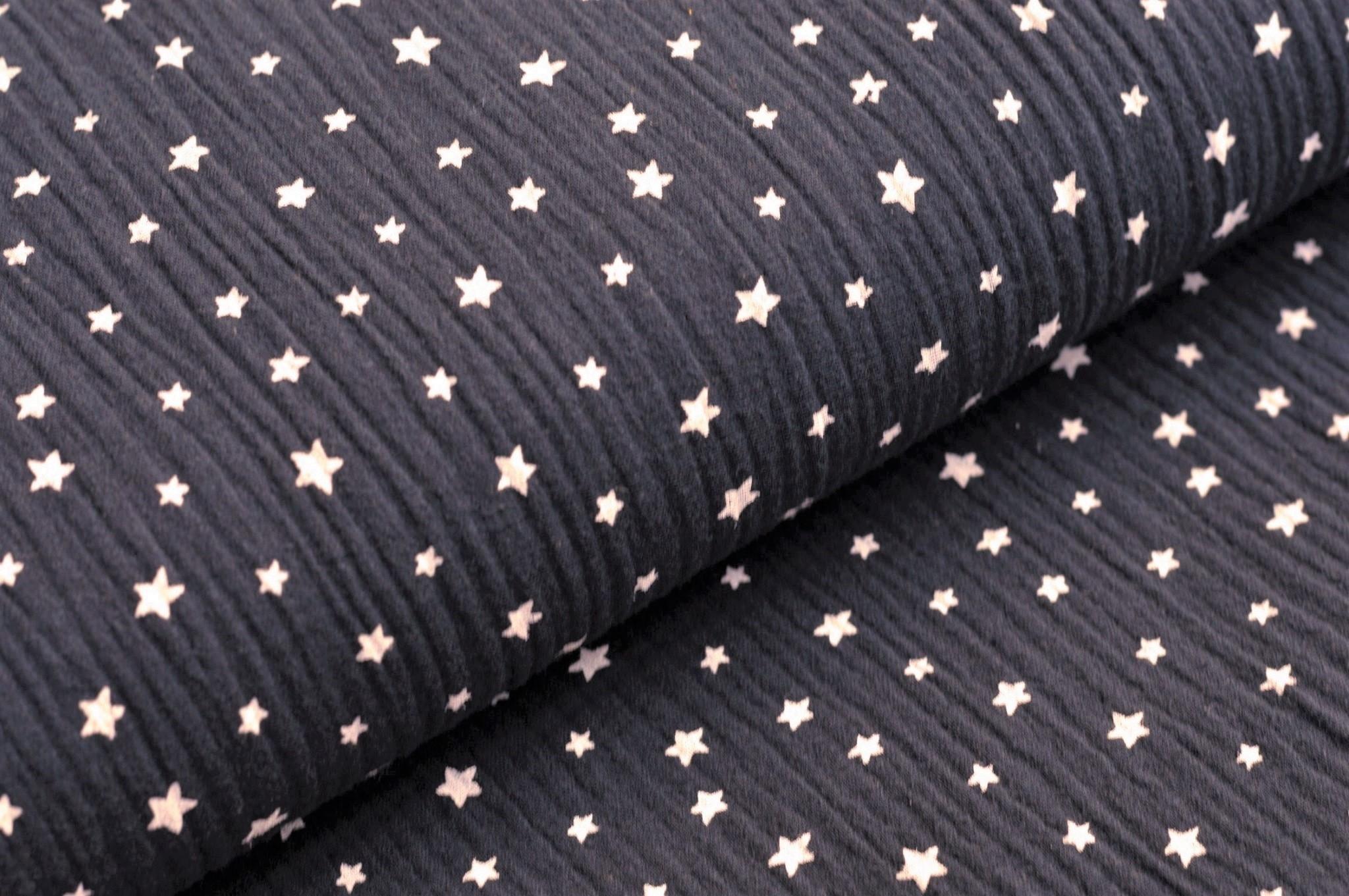 Baumwolle Musselin Double Gauze dunkelblau mit weissen Sternen
