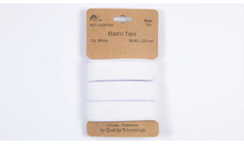 Karte 3m Elastik Gummi 20mm breit in weiß (550)
